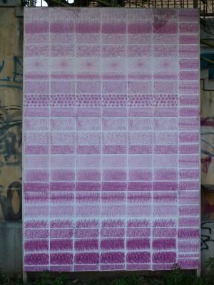 Lila Farbkopien von Wachsfarbe auf Karton 2010